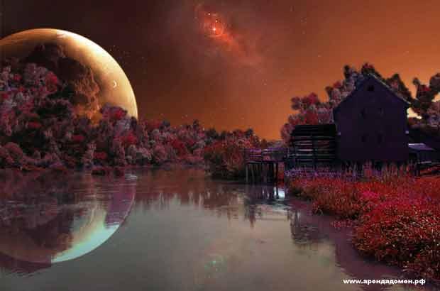 фотошоп, луна, пейзаж, вода, дом